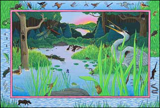Wetland sunset illustration from Before & After