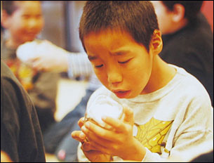 A boy from Labrador inspects a hummingbird