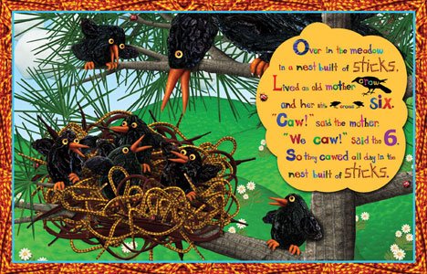 Baby crows illustration from Over in the Meadow