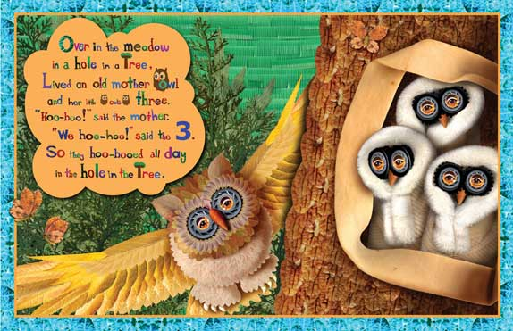 3 baby owls illustration from Over in the Meadow