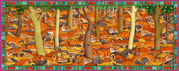 A thousand tigers illustration- endangered Bengal tigers from India